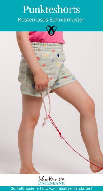 Punkte shorts für Kinder Kindershorts Sommerhose Kinder kostenlose Schnittmuster Gratis-Nähanleitung