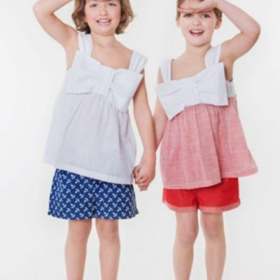 Schleifen Top Oberteil Kinder Kinderbluse Shirt für Kinder kostenlose Schnittmuster Gratis-Nähanleitung
