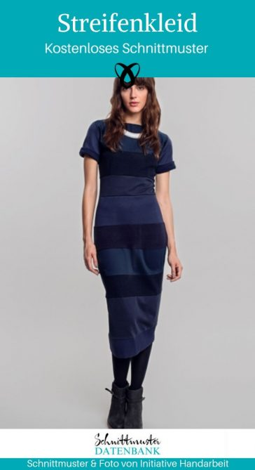 Streifenkleid Damenkleid Abendkleid Jerseykleid Etuikleid kostenlose Schnittmuster Gratis-Nähanleitung