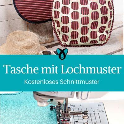 Tasche mit Lochmuster Einkaufstasche Handtasche Ledertasche kostenlose Schnittmuster Gratis-Nähanleitung