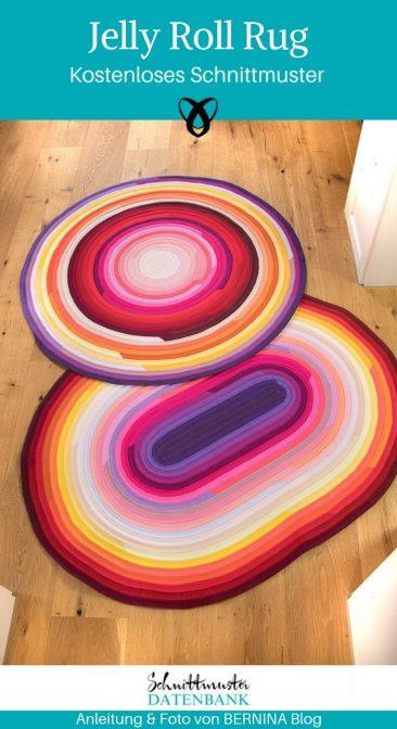 Teppich Jelly Roll Rug Nähen für Zuhause kostenlose Schnittmuster Gratis-Nähanleitung