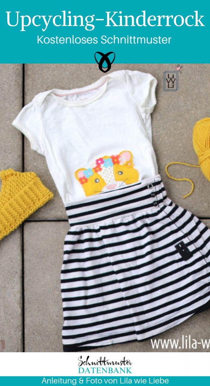 Upcycling Kinderrock Mädchenrock mit Knopfleiste Kinderkleidung Jerseyrock kostenlose Schnittmuster Gratis-Nähanleitung