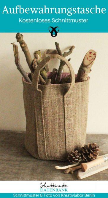Aufbewahrungstasche Aufbewahrungskorb Holztasche Spielzeugkorb kostenlose Schnittmuster Gratis-Nähanleitung