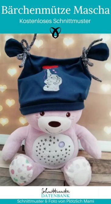 Bärchenmütze Kindermütze Mütze mit Ohren Jerseymütze kostenlose Schnittmuster Gratis-Nähanleitung