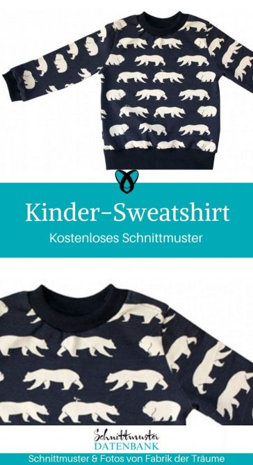 Kinder Sweatshirt Kinderpullover Pullover kostenlose Schnittmuster Gratis-Nähanleitung Nähen für Kinder