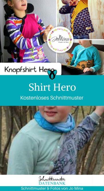 Knopfshirt Hero Langarmshirt Shirt zum Knöpfen kostenlose Schnittmuster Gratis-Nähanleitung