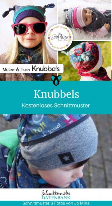 Knubbels Set Mütze Tuch Nähen für Kinder kostenlose Schnittmuster Gratis-Nähanleitung