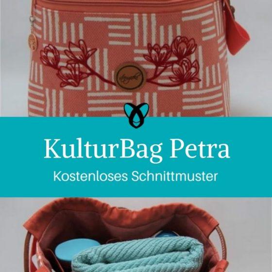 KulturBag Kulturtasche Kulturbeutel Kosmetiktasche kostenlose Schnittmuster Gratis-Nähanleitung