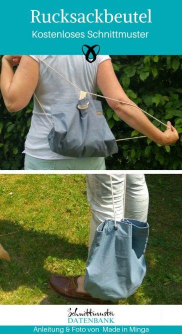 Rucksackbeutel Turnbeutel Rucksack Tasche kostenlose Schnittmuster Gratis-Nähanleitung