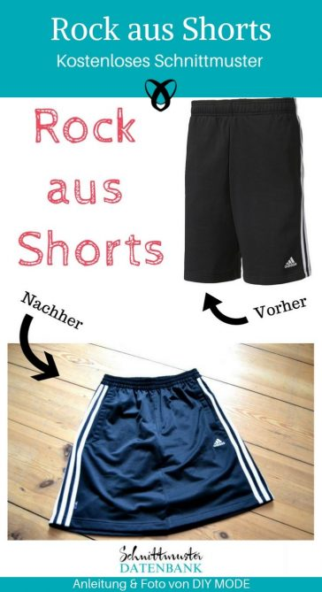 Upcycling Rock Shorts Sporthose kostenlose Schnittmuster Gratis-Nähanleitung