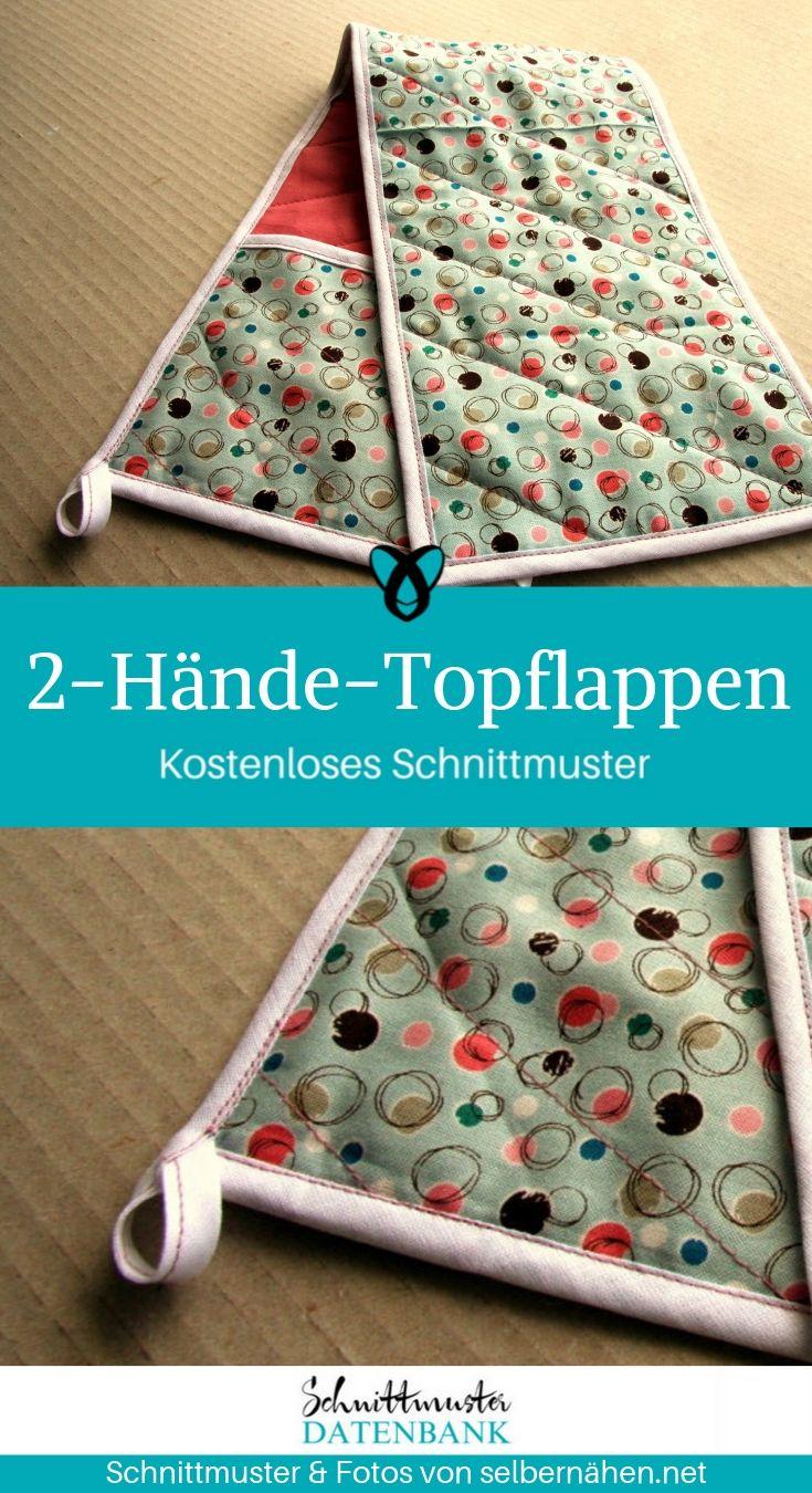 2-Hände-Topflappen Nähen für Zuhause für die Küche Geschenke zum Backen kostenlose Schnittmuster Gratis-Nähanleitung