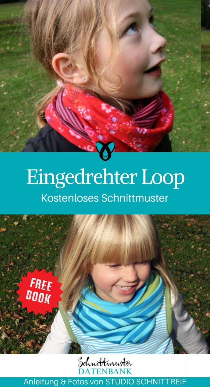 Eingedrehter Loop Kinderloop Nähen für Kinder Schal Halstuch kostenlose Schnittmuster Gratis-Nähanleitung