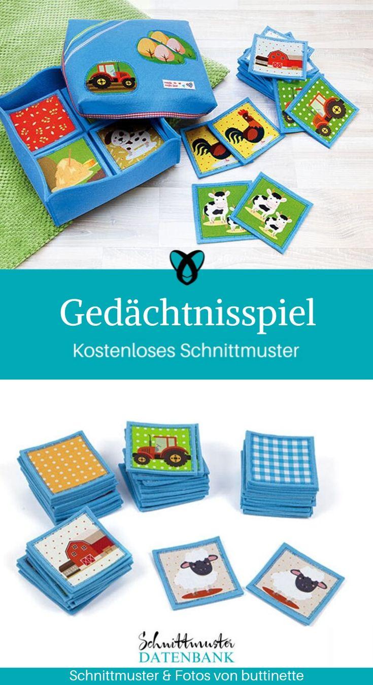 Gedächtnisspiel Memory Kinderspiel Nähen kostenlose Schnittmuster Gratis-Nähanleitung