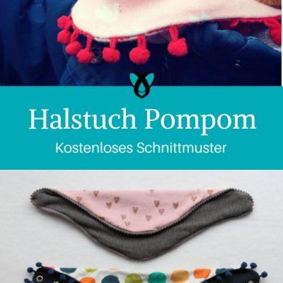 Halstuch Pompom Dreieckstuch Kinderhalstuch Babyaccessoire kostenlose Schnittmuster Gratis-Nähanleitung