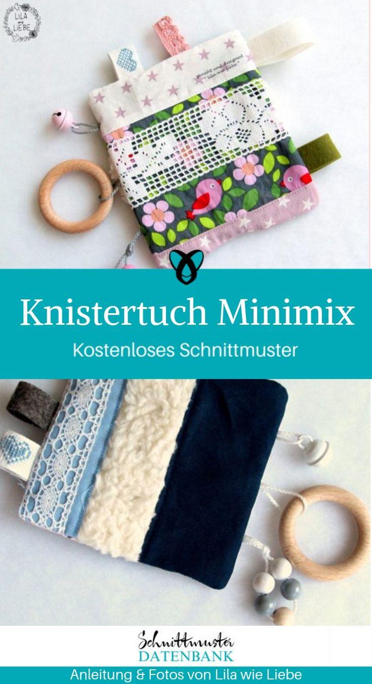 Knistertuch Minimix Babyspielzeug Erstausstattung Baby Nähen zur Geburt kostenlose Schnittmuster Gratis-Nähanleitung