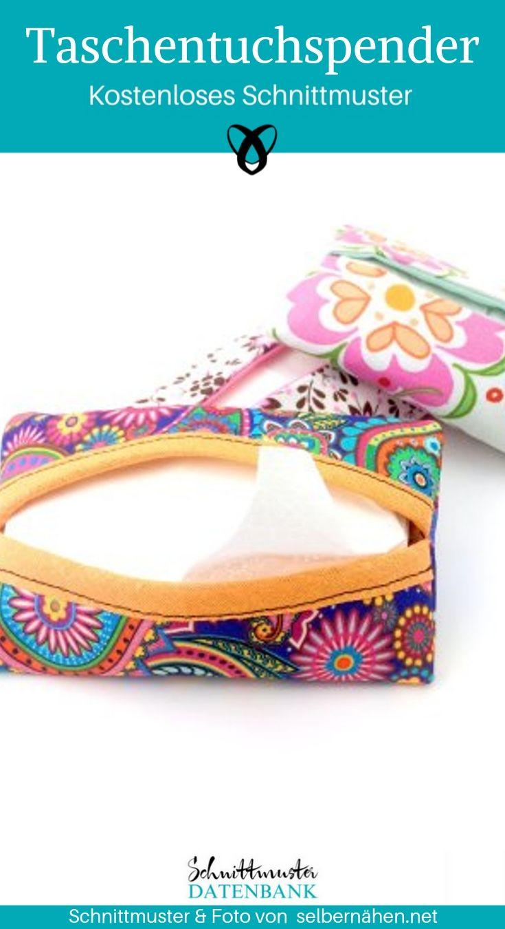 Taschentuchspender Nähen für Zuhause Geschenke nähen kostenlose Schnittmuster Gratis-Nähanleitung