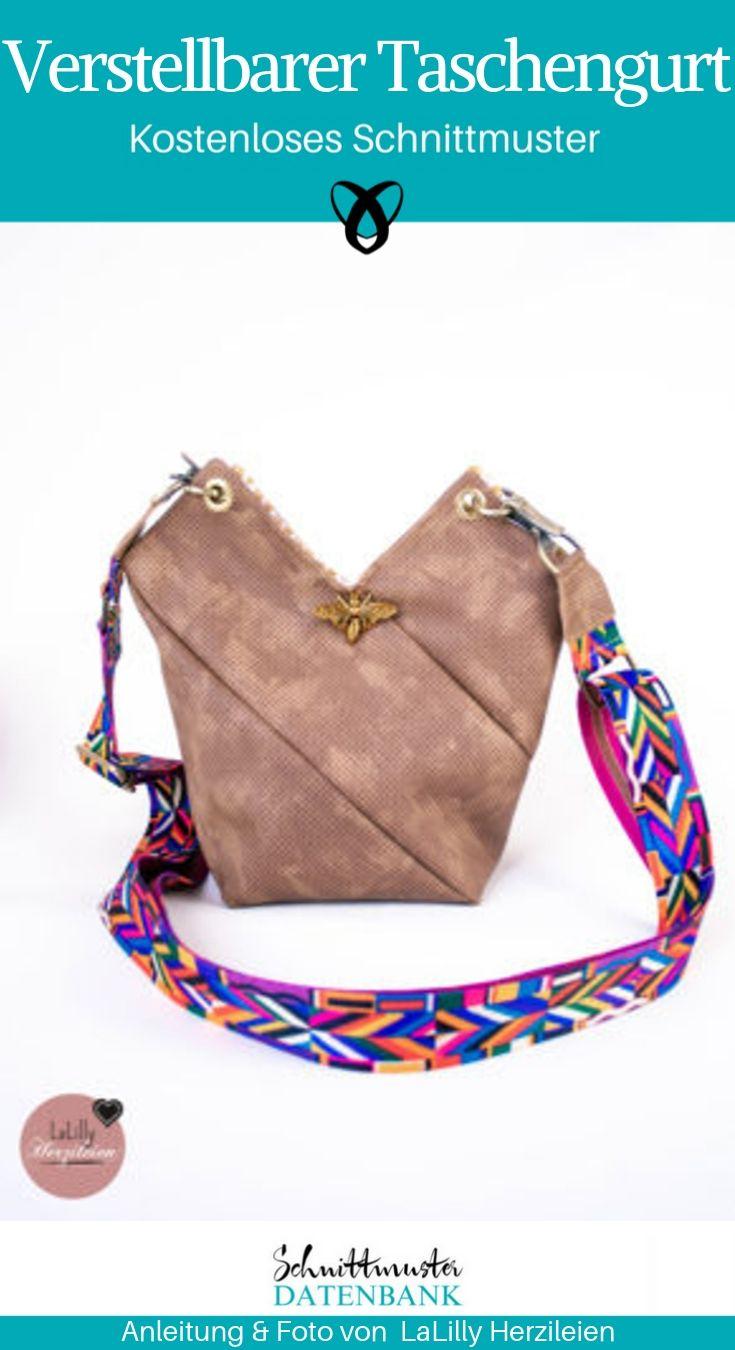 Verstellbarer Taschengurt Taschengriff Upcycling Tasche kostenlose Schnittmuster Gratis-Nähanleitung