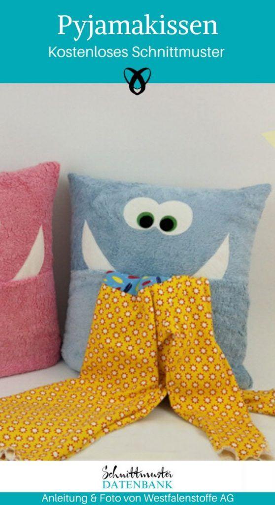 Pyjamakissen nähen Kissen für Kinder Monsterkissen Kinderkissen kostenlose Schnittmuster Gratis Nähanleitung