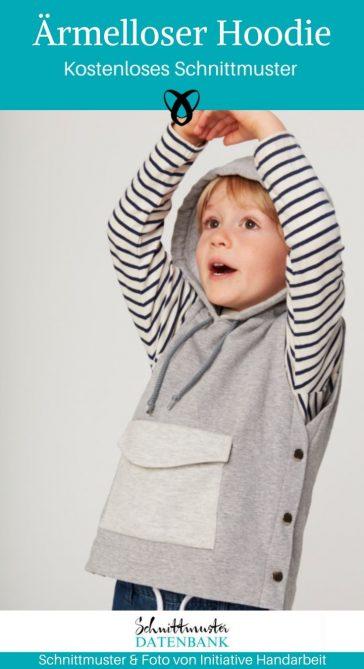 Ärmelloser Hoodie Kapuzenweste Nähen für Kinder Kinderkleidung kostenlose Schnittmuster Gratis-Nähanleitung