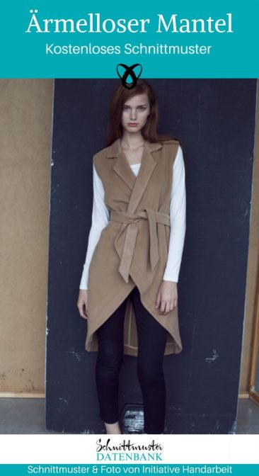 Ärmelloser Mantel Lange Weste Damenmode Outdoor Strickmantel Wollmantel kostenlose Schnittmuster Gratis-Nähanleitung