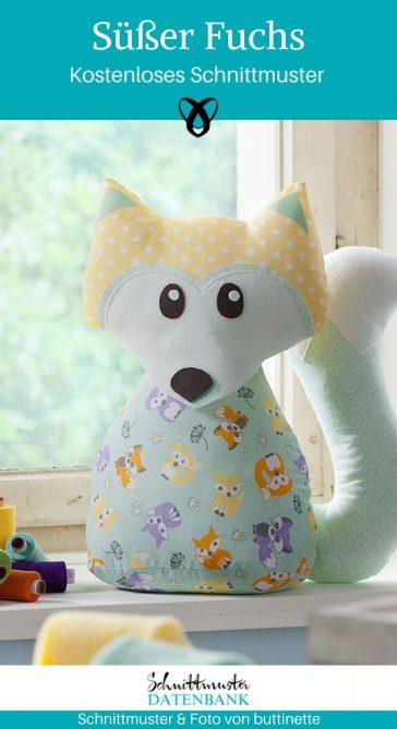 Fuchs Kuscheltier Spielzeug Plüschtier kostenlose Schnittmuster Gratis-Nähanleitung