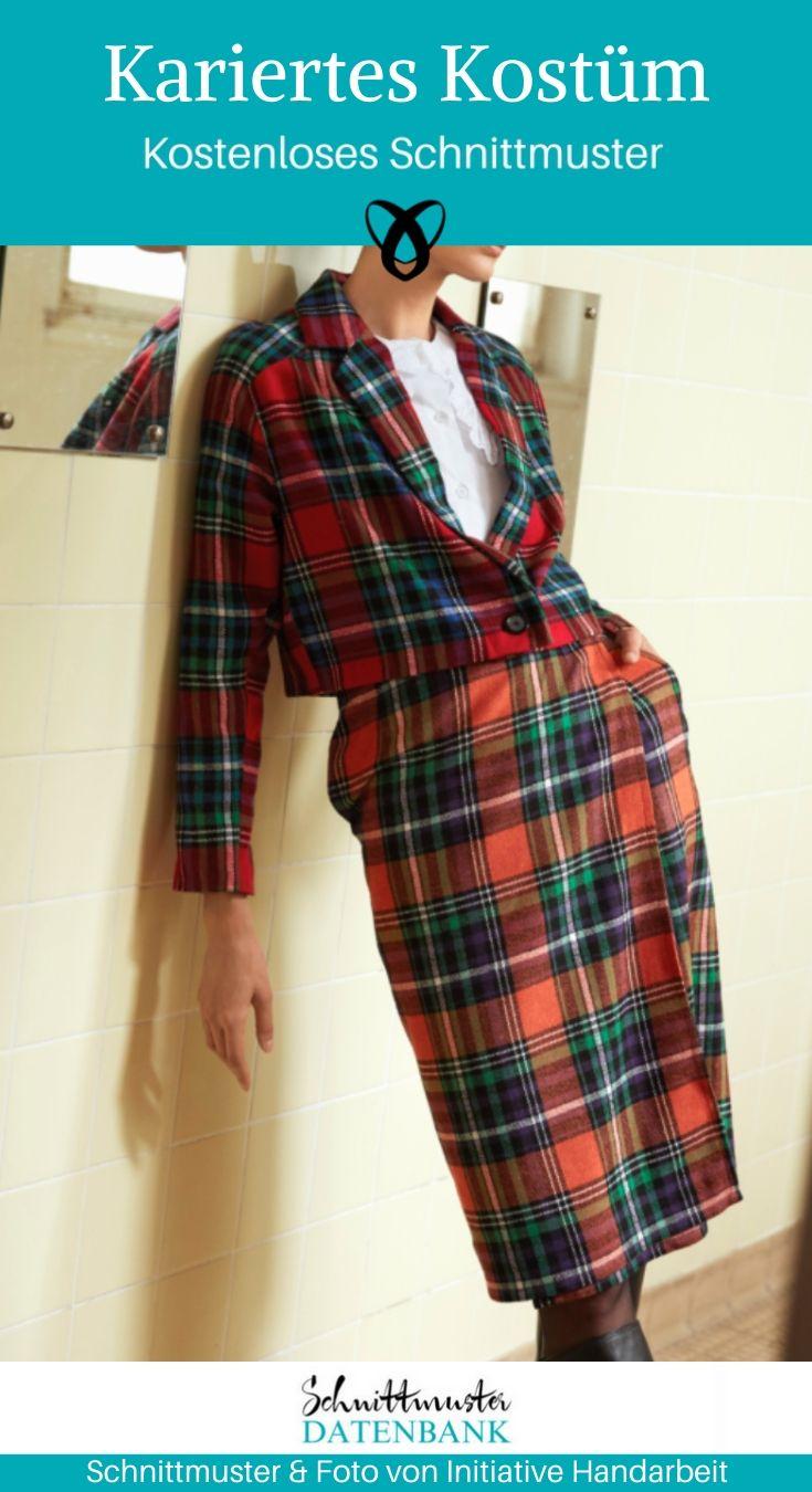 Kariertes Kostüm Blazer Wickelrock elegante Damenmode kostenlose Schnittmuster Gratis-Nähanleitung