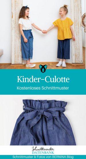 Kinder-Culotte weite Hose Kinderhose Nähen für Kinder kostenlose Schnittmuster Gratis-Nähanleitung