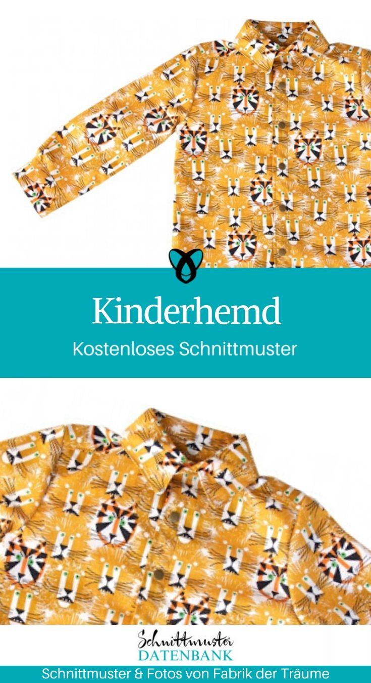 Kinderhemd Jungenhemd Nähen für Kinder kostenlose Schnittmuster Gratis-Nähanleitung