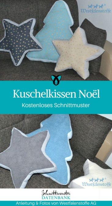 Kuschelkissen Weihnachtskissen Sternkissen Tannenkissen Weihnachtsdeko kostenlose Schnittmuste Gratis-Nähanleitung