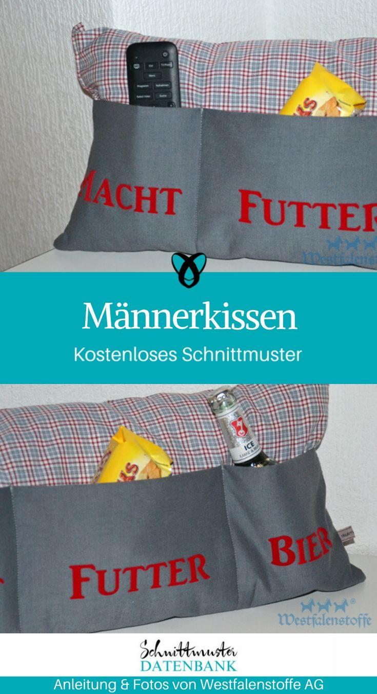 Männerkissen Kissen für Männer Fernsehkissen Geschenke für Männer kostenlose Schnittmuster Gratis-Nähanleitung