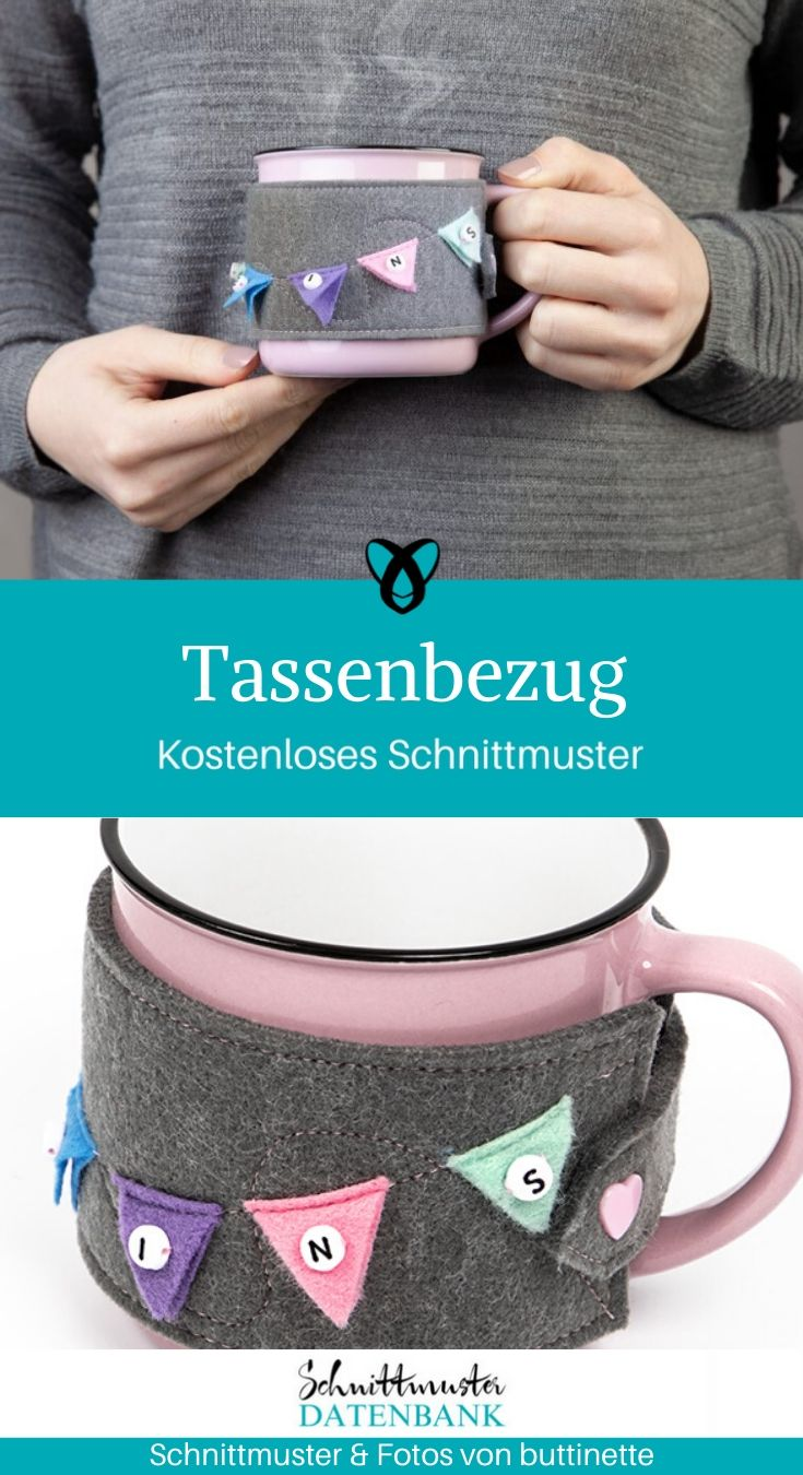 Tassenbezug Geschenke Nähen Tassenhülle kostenlose Schnittmuster Gratis-Nähanleitung