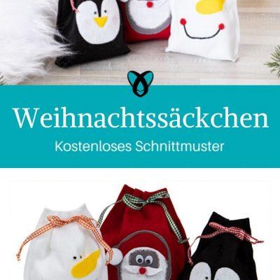 Weihnachtssäckchen Nähen für Weihnachten Weihnachtsdekoration Geschenkverpackung kostenlose Schnittmuster Gratis-Nähanleitung