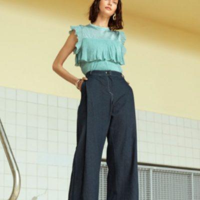 Weite Jeans Culotte Marlenehose kostenlose Schnittmuster Gratis-Nähanleitung
