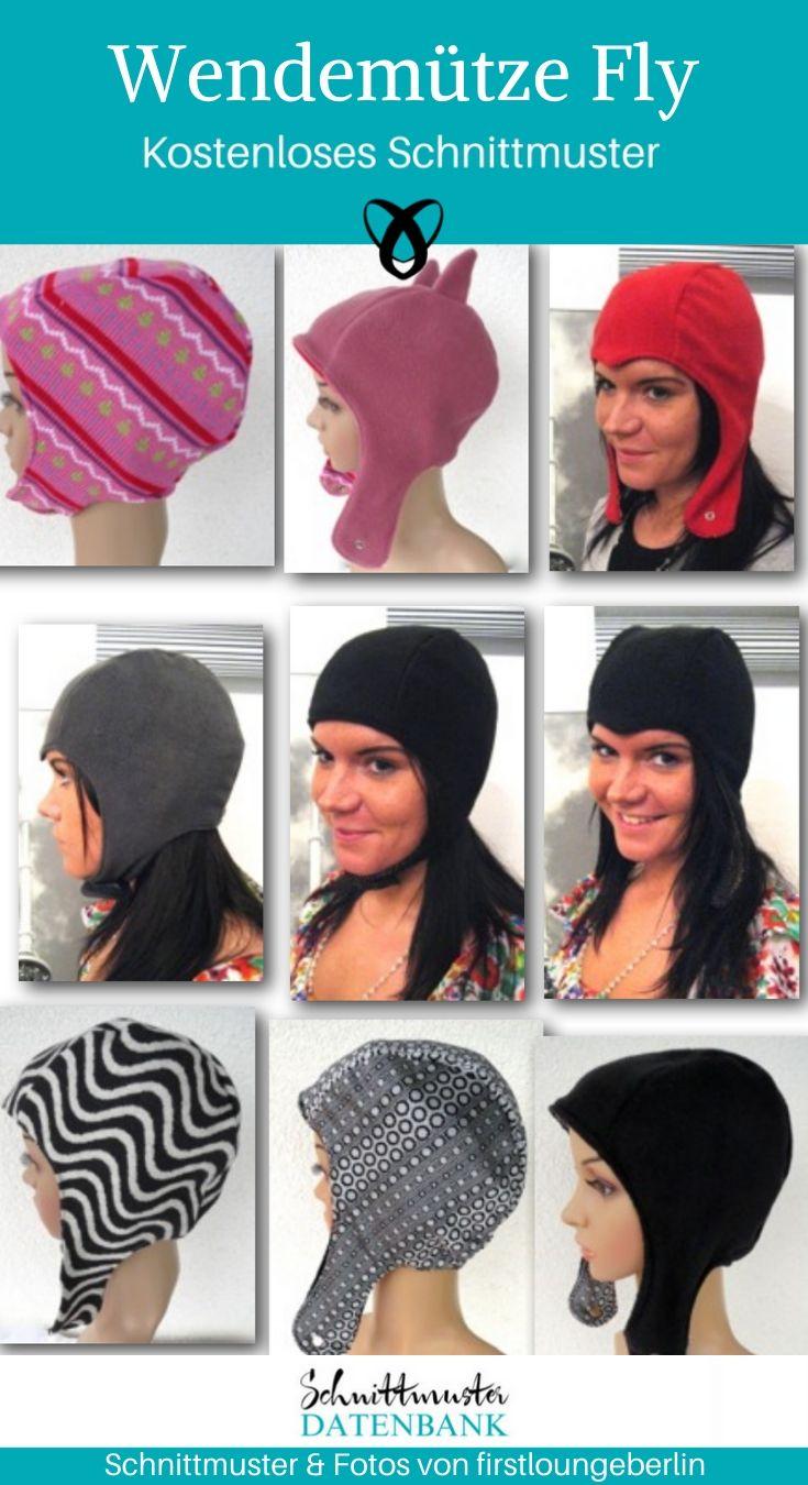Wendemütze Fliegermütze Accessoires Mütze Kopfbedeckung kostenlose Schnittmuster Gratis-Nähanleitung