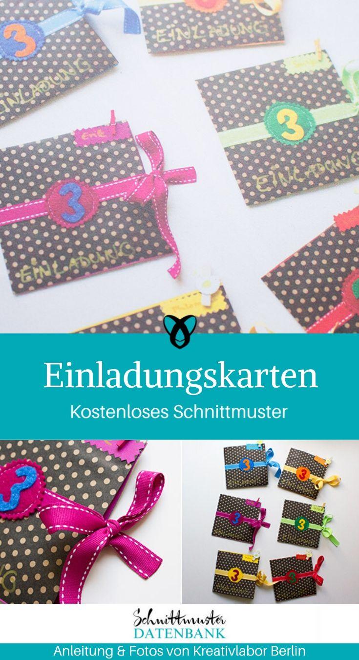 Einladungskarten Kindergeburtstag Einladung Brief Karte kostenlose Schnittmuster Gratis-Nähanleitung