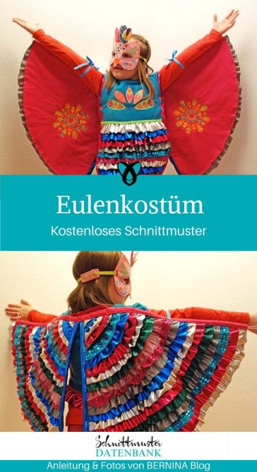 Eule Eulenkostüm Faschingskostüm Karneval Fasching Kostüm Kinderkostüm Verkleiden kostenlose Schnittmuster Gratis-Nähanleitung