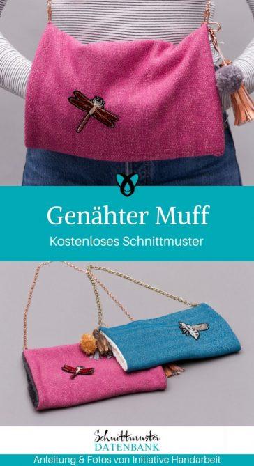 Genähter Muff Warme Hände Accessoires kostenlose Schnittmuster Gratis-Nähanleitung