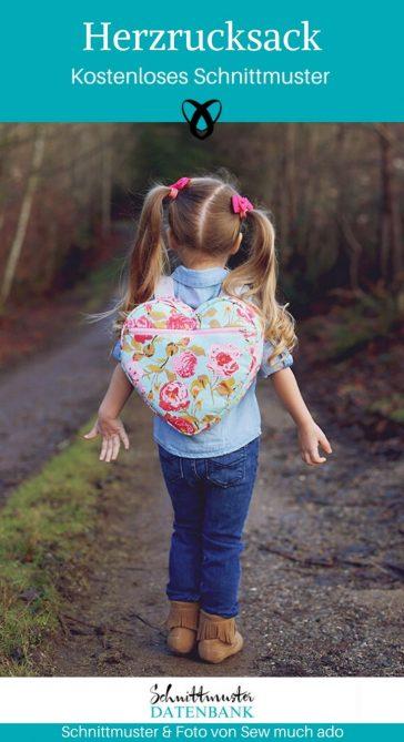 Herzrucksack Kinderrucksack Kindergartenrucksack kostenlose Schnittmuster Gratis-Nähanleitung