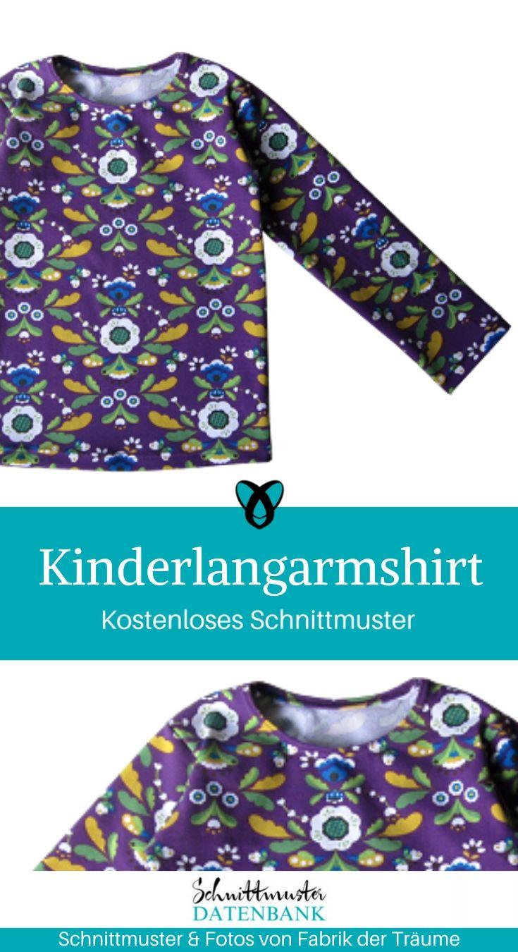 Kinderlangarmshirt Langarmshirt Kinder Longsleeve Shirt Sweatshirt Pullover Jerseyshirt langarm kostenlose Schnittmuster Gratis-Nähanleitung
