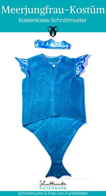 Meerjungfrau Meermann Faschingskostüm Karneval Fasching Kostüm Kinderkostüm Verkleiden kostenlose Schnittmuster Gratis-Nähanleitung Arielle