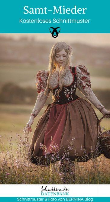 Samt-Mieder Korsett Korselett Mieder Faschingskostüm Karneval Fasching Kostüm Cosplay Verkleiden kostenlose Schnittmuster Gratis-Nähanleitung
