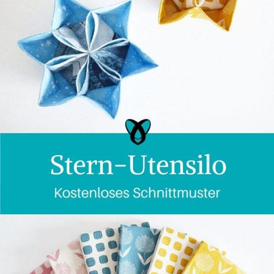 Stern-Utensilo Nähen für weihnachten Sternkörbchen Sternkorb Plätzchenschale kostenlose Schnittmuster Gratis-Nähanleitung