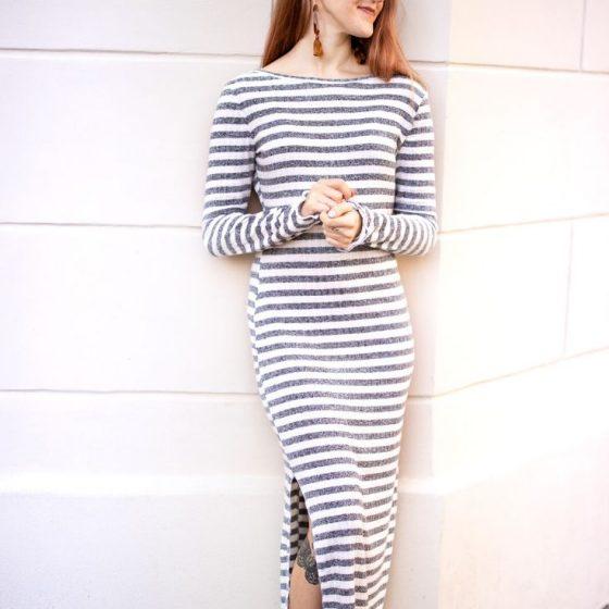Strickkleid Jerseykleid Damenkleid enges Kleid Damenbekleidung kostenlose Schnittmuster Gratis-Nähanleitung