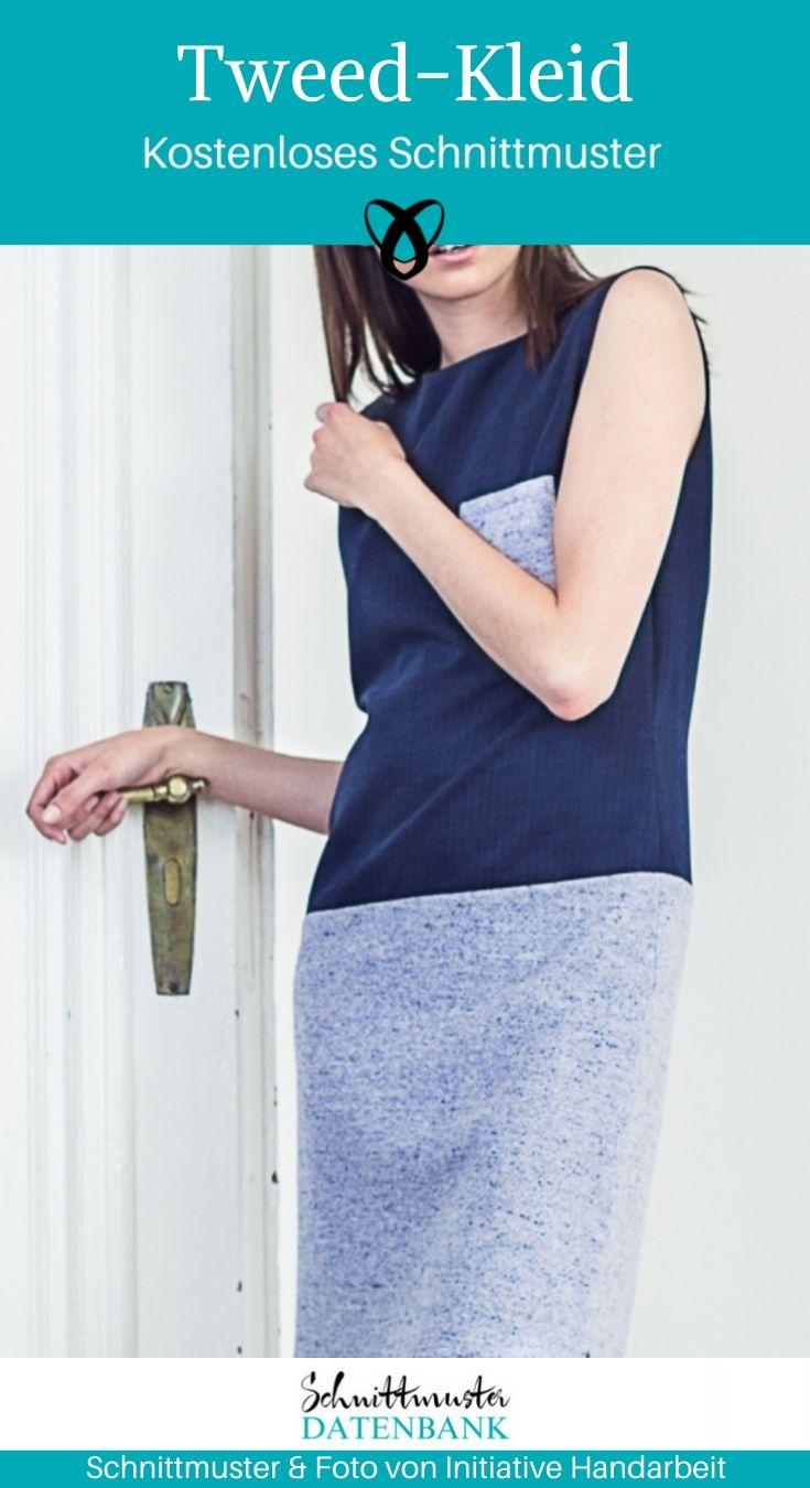 Tweedkleid Damenkleid Shiftkleid H-Linie gerades Kleid kostenlose Schnittmuster Gratis-Nähanleitung