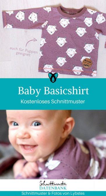 Baby Basicshirt Langarmshirt Babyshirt Pullover Baby Nähen zur Geburt Erstausstattung kostenlose Schnittmuster Gratis-Nähanleitung