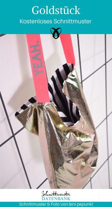 Goldstück Tasche Einkaufstasche Nachhaltigkeit makemetakeme Shopper Umwelt kostenlose Schnittmuster Gratis-Nähanleitung
