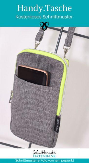 Handytasche kleine Tasche Handybag Umhängetasche kostenlose Schnittmuster Gratis-Nähanleitung