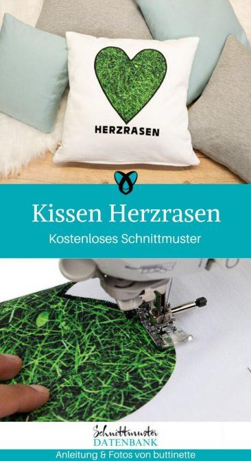 Kissen Herzrasen Applikation Herz Kuschelkissen Nähen für Zuhause kostenlose Schnittmuster Gratis-Nähanleitung