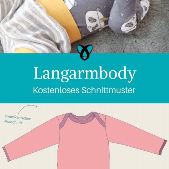 Langarmbody Babybody Erstausstattung Baby Nähen zur Geburt kostenlose Schnittmuster Gratis-Nähanleitung