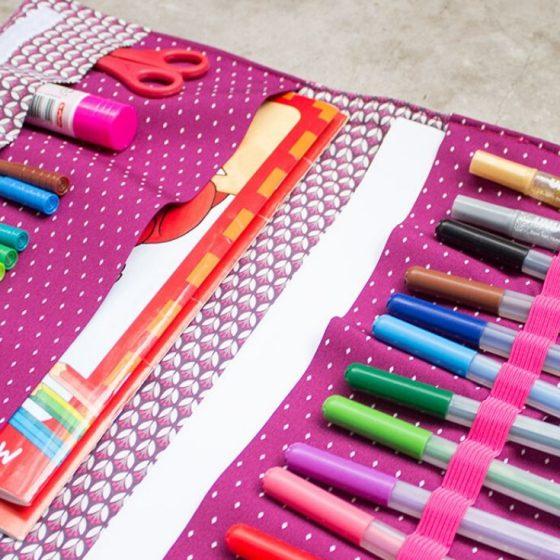 Malmappe Kinder Stifteetui Nähen für den Urlaub kostenlose Schnittmuster Gratis-Nähanleitung